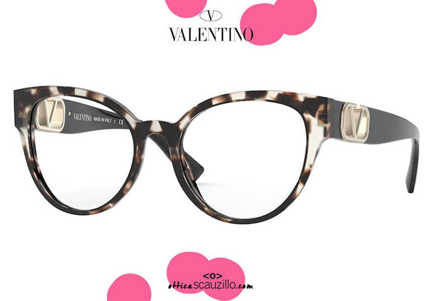 shop online new Butterfly cat eye oversized eyeglasses Valentino VA3043 col.5097 light havana on otticascauzillo.com Acquisto online nuovo  Occhiale da vista a farfalla cat eye oversize Valentino VA3043 col.5097 havana chiaro