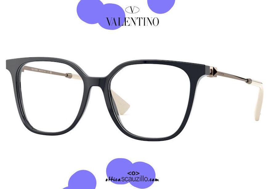 shop online new Oversized square eyeglasses Valentino VA3055 col.5034 blue and gold on otticascauzillo.com acquisto online nuovo Occhiale da vista squadrato oversize Valentino VA3055 col.5034 blue e oro