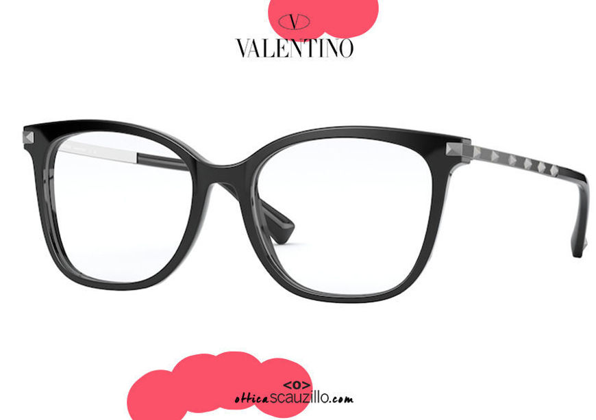 shop online new Oversized squared eyeglasses with studs Valentino VA3048 col.5001 black on otticascauzillo.com acquisto online nuovo  Occhiale da vista squadrato oversize con borchie Valentino VA3048 col.5001 nero