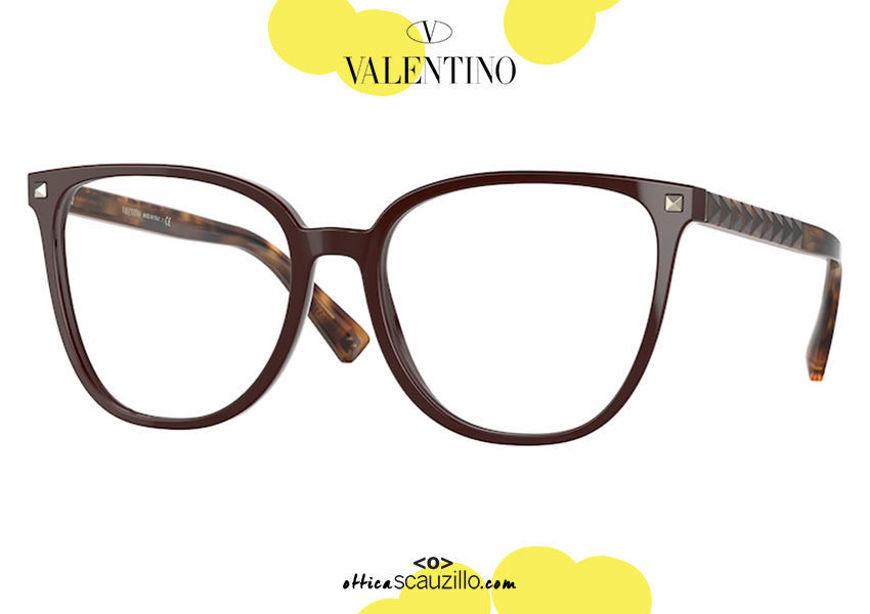 shop online new Oversized squared eyeglasses with studs Valentino VA 3059 col.5120 bordeaux on otticascauzillo.com acquisto online nuovo Occhiale da vista squadrato oversize con borchie Valentino VA 3059 col.5120 bordeaux