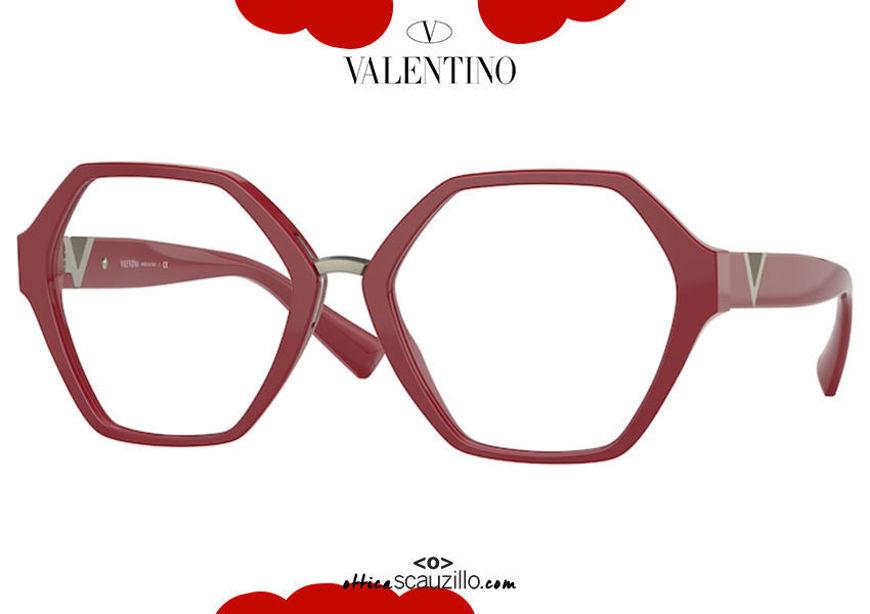 shop online new Oversized hexagon eyeglasses Valentino VA 3062 col.5101 red on otticascauzillo.com acquisto online nuovo Occhiale da vista esagono oversize  Valentino VA 3062 col.5101 rosso