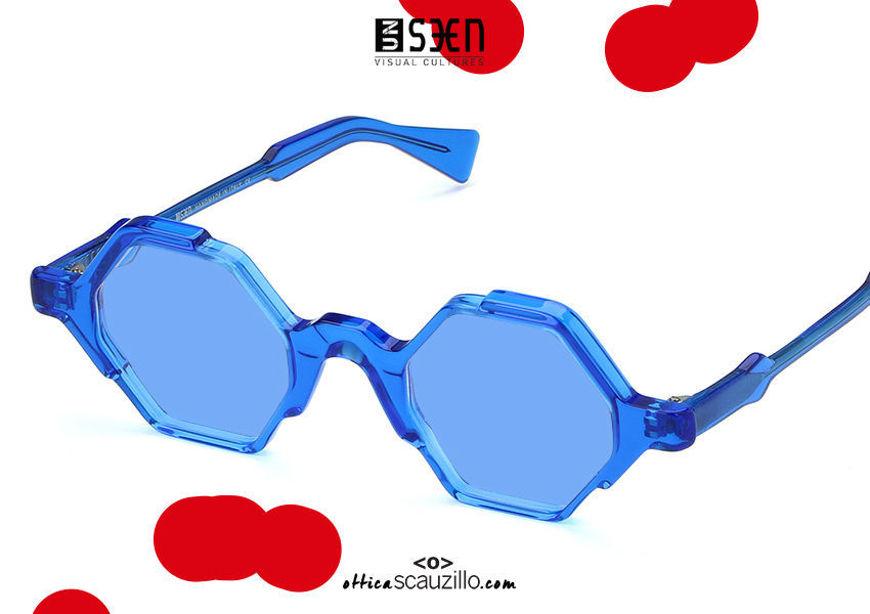 acquisto online nuovo Occhiale da sole esagono UNSEEN TIME col.07 blu su otticascauzillo.com shop online new UNSEEN TIME hexagon sunglasses col.07 blue