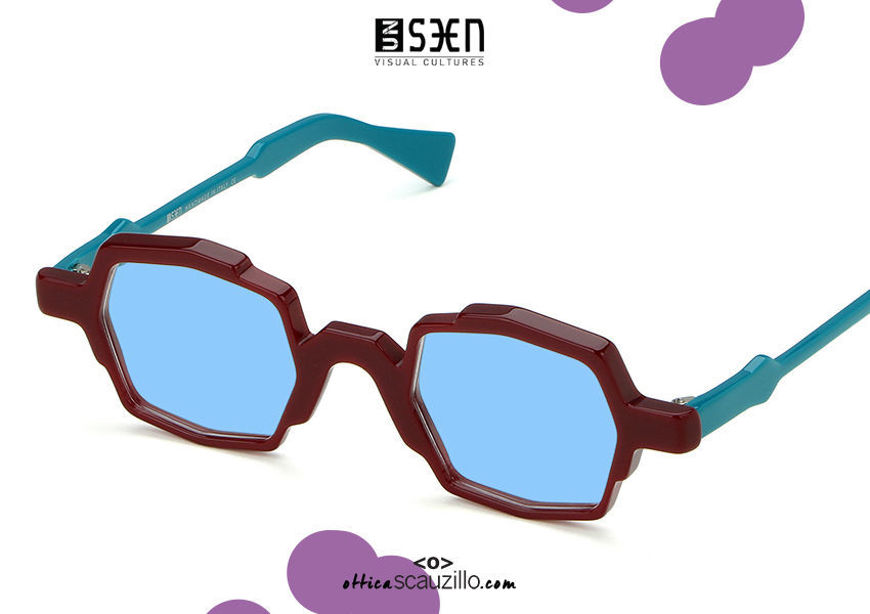 acquisto online nuovo Occhiale da sole quadrato piccolo UNSEEN illusion EGO col.05 bordeaux su otticascauzillo.com shop online new UNSEEN illusion EGO small square sunglasses col.05 bordeaux