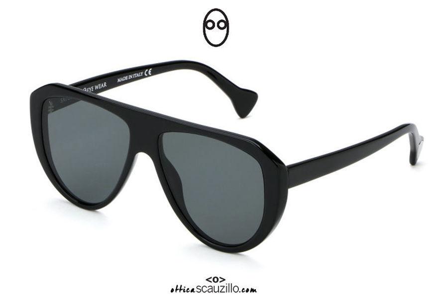 shop online new Oversized teardrop sunglasses Saturnino Eyewear MORDECAI col. 4 black on otticascauzillo.com acquisto online nuovo Occhiale da sole a goccia oversize Saturnino Eyewear MORDECAI col. 4 nero