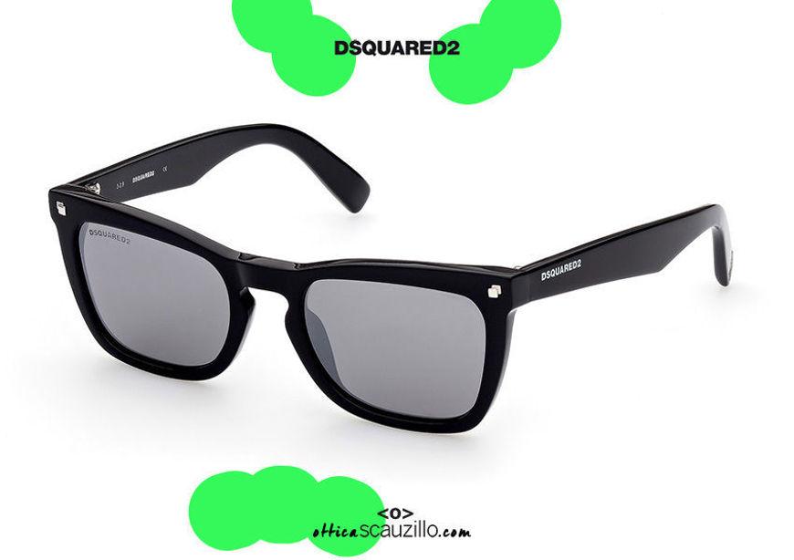 shop online new Wayfarer style rectangular sunglasses Dsquared2 CAT DQ 0340 col. black on otticascauzillo.com acquisto online nuovo Occhiale da sole rettangolare stile wayfarer Dsquared2 CAT DQ 0340 col. nero