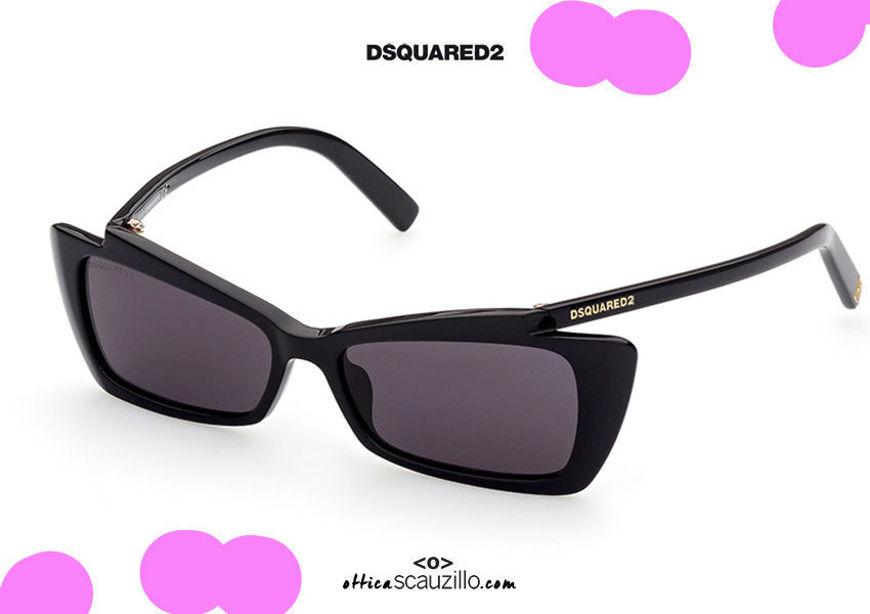 shop online new Narrow rectangular sunglasses with curved temples Dsquared2 CASEY DQ 0347 col. black on otticascauzillo.com acquisto online nuovo Occhiale da sole rettangolare stretto con aste curve Dsquared2 CASEY DQ 0347 col. nero