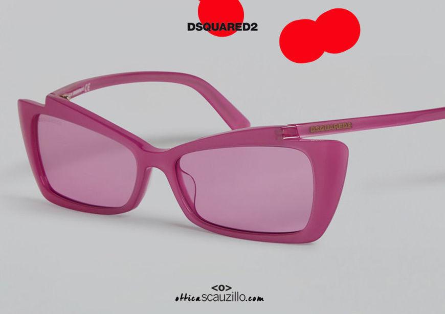 shop online new Narrow rectangular sunglasses with curved temples Dsquared2 CASEY DQ 0347 col. pink on otticascauzillo.com acquisto online nuovo Occhiale da sole rettangolare stretto con aste curve Dsquared2 CASEY DQ 0347 col. rosa