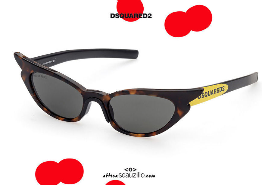shop online new Narrow pointed cat eye sunglasses Dsquared2 HILDEGARDDQ 0371 col. brown havana and yellow on otticascauzillo.com acquisto online nuovo Occhiale da sole cat eye stretto a punta Dsquared2 HILDEGARDDQ 0371 col. avana marrone e giallo