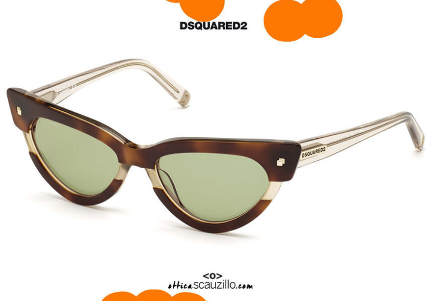 shop online new Dsquared2 MAGDA 0333 pointed cat eye sunglasses col. brown and beige on otticascauzillo.com acquisto online nuovo Occhiale da sole cat eye a punta Dsquared2 MAGDA 0333 col. marrone e beige