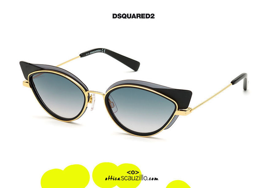 shop online new Oval pointed gold sunglasses Dsquared2 ALIDA 0336 col. black on otticascauzillo.com acquisto online nuovo Oval pointed gold sunglasses Dsquared2 ALIDA 0336 col. black