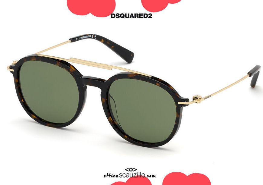 shop online new Dsquared2 round aviator sunglasses DUSTIN 0309 col. havana brown su otticascauzillo.com acquisto online nuovo Occhiale da sole aviator tondo Dsquared2 DUSTIN 0309 col. marrone avana