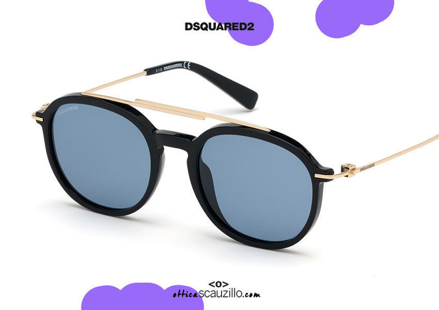 shop online new Dsquared2 round aviator sunglasses DUSTIN 0309 col. black su otticascauzillo.com acquisto online nuovo Occhiale da sole aviator tondo Dsquared2 DUSTIN 0309 col. nero