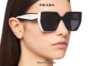 shop online new Oversized square sunglasses with hexagon cat eye PRADA SPR 15W col. black and white on otticascauzillo.com acquisto online nuovo  Occhiale da sole squadrato esagono cat eye oversize PRADA SPR 15W col. nero e bianco