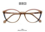 shop online new Round cat eye eyeglasses ONIRICO ON84 col.622 transparent brown and pink on otticascauzillo.com acquisto online nuovo Occhiale da vista tondo cat eye ONIRICO ON84 col.622 marrone trasparente e rosa