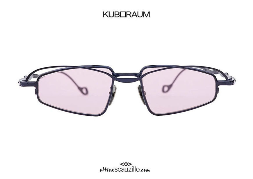 shop online new Double bridge narrow metal sunglasses KUBORAUM Mask H73 blue purple lenses on otticascauzillo.com acquisto online nuovo  Occhiale da sole in metallo stretto doppio ponte KUBORAUM Mask H73 blu lenti viola