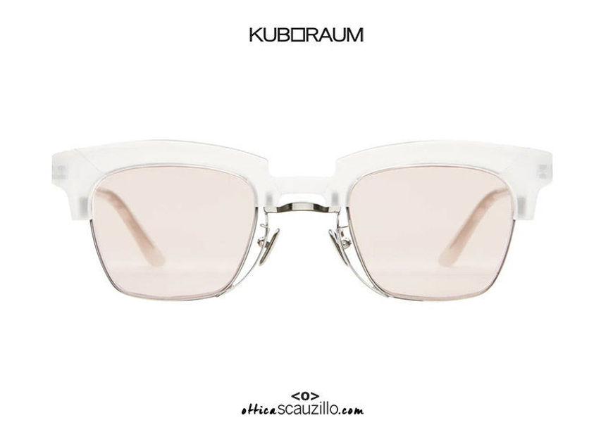 shop online new Metal bridge sunglasses KUBORAUM Mask N6  transparent satin on otticascauzillo.com acquisto online nuovo Occhiale da sole ponte metallo KUBORAUM Mask N6 bianco trasparente satinato