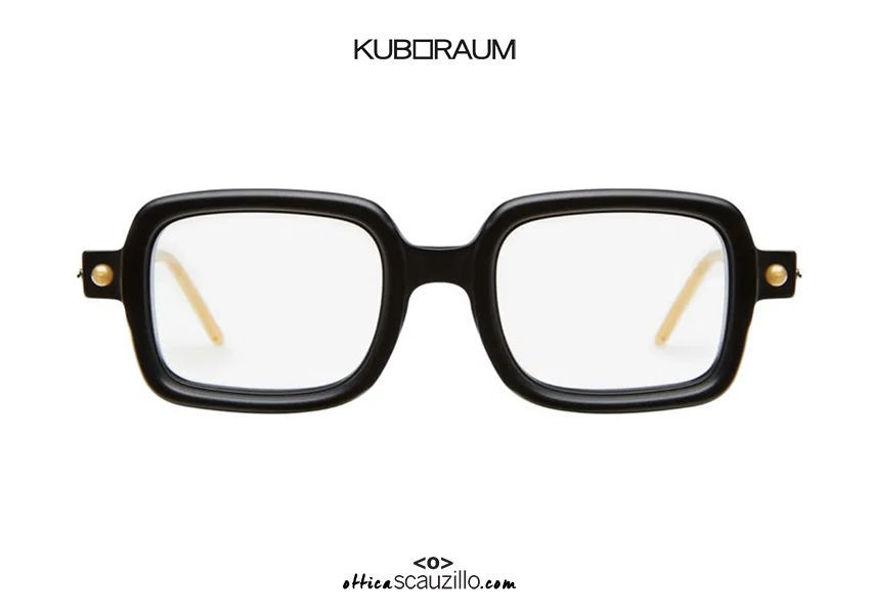 shop online new Square sunglasses KUBORAUM Mask P2 black satin on otticascauzillo.com acquisto online nuovo Occhiale da sole quadrato aste a cilindro KUBORAUM Mask P2 nero satinato