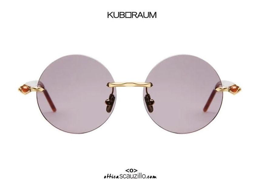 shop online new Rimless sunglasses KUBORAUM Mask P50 gold and havana on otticascauzillo.com acquisto online nuovo Occhiale da sole glasant asta a cilindro KUBORAUM Mask P50 oro e avana