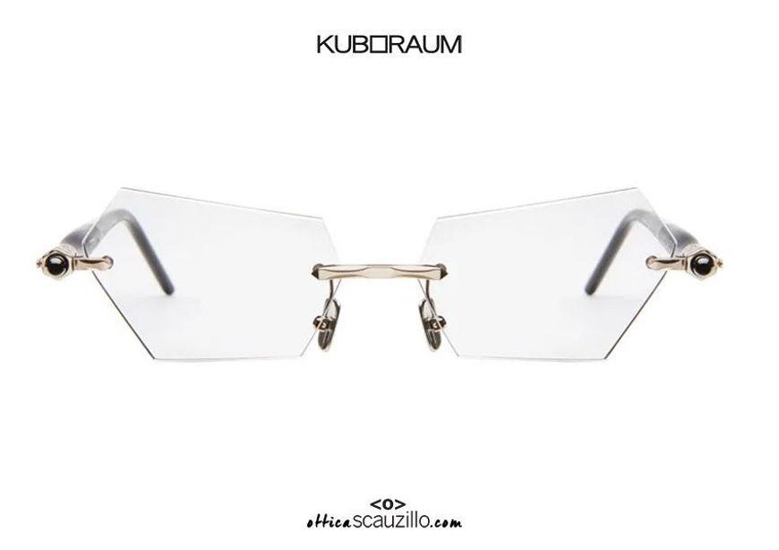shop online new Rimless sunglasses KUBORAUM Mask P51 rose gold and black on otticascauzillo.com acquisto online nuovo Occhiale da sole senza montatura  asta a cilindro KUBORAUM Mask P51 oro rosa e nero