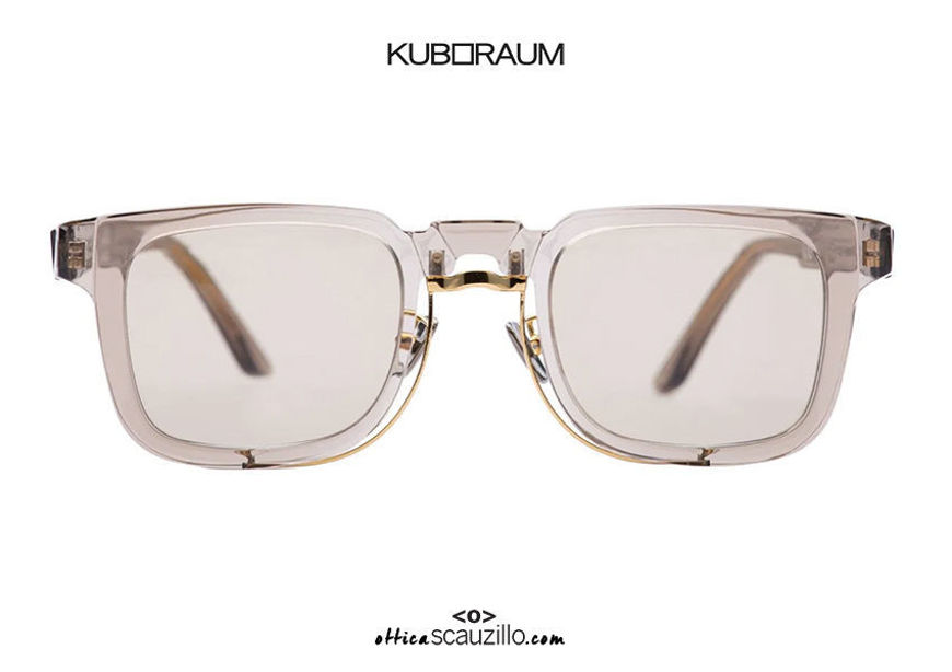 shop online new Square metal bridge sunglasses KUBORAUM Mask N4 transparent smoke on otticascauzillo.com acquisto online nuovo Occhiale da sole squadrato ponte metallo KUBORAUM Mask N4 fumo trasparente