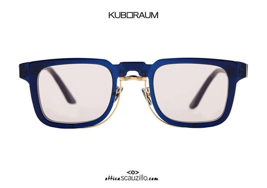 shop online new Square gold metal bridge sunglasses KUBORAUM Mask N4 blue on otticascauzillo.com acquisto online nuovo Occhiale da sole squadrato ponte metallo oro KUBORAUM Mask N4 blu