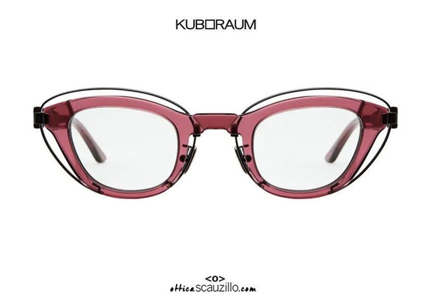 shop online new KUBORAUM Mask N11 cherry narrow cat eye sunglasses on otticascauzillo.com acquisto online nuovo Occhiale da sole cat eye stretto inserto metallo KUBORAUM Mask N11 ciliegia