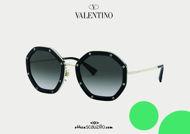Acquista online su otticascauzillo.com il nuovo occhiale da sole ottagonale in metallo con cristalli Valentino VA 2042 col. 04L nero
