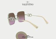 Acquista online su otticascauzillo.com il tuo nuovo occhiale da sole squadrato in metallo VLOGO SIGNATURE cristalli Valentino VA 2041 col. KZ7 oro / marrone sfumato
