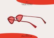 Acquisto online su otticascauzillo.com nuovo occhiale da sole a punta con strass Valentino VA2033 col. 05Z rosso