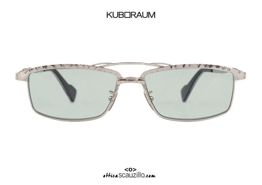 shop online new KUBORAUM Mask H57 silver rectangular double bridge metal sunglasses on otticascauzillo.com acquisto online nuovo Occhiale da sole metallo rettangolare doppio ponte KUBORAUM Mask H57 argento
