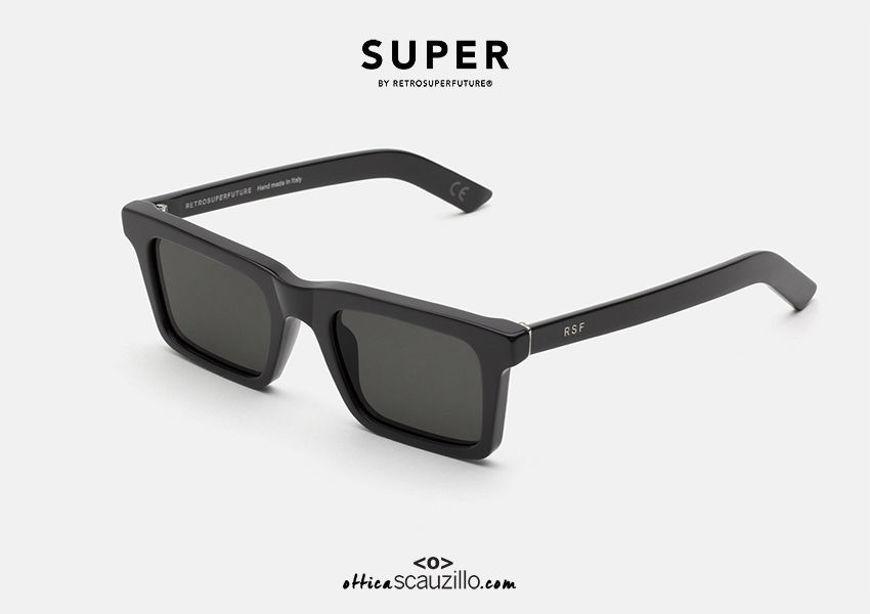 shop online new Square rectangular sunglasses RETRO SUPER FUTURE 1968 black on otticascauzillo.com acquisto online nuovo Occhiale da sole rettangolare squadrato RETRO SUPER FUTURE 1968 nero