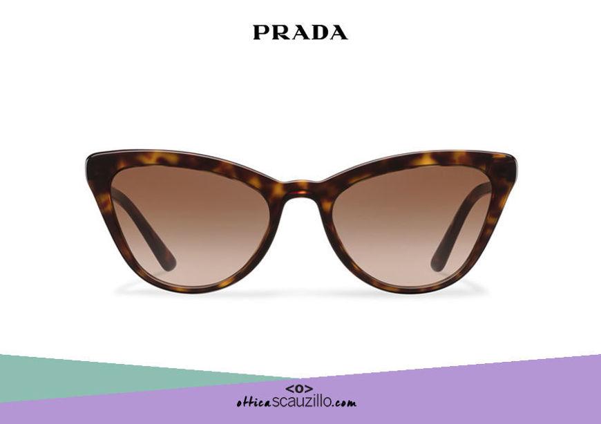 Acquista online su otticascauzillo.com il tuo nuovo occhiale da sole cat eye oversize acetato PRADA SPR 01V col. tartaruga