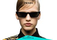 Acquista online su otticascauzillo.com il tuo nuovo occhiale da sole rettangolare stretto acetato PRADA SPR 19U col. nero