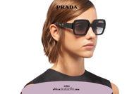 Acquista online su otticascauzillo.com il tuo nuovo occhiale da sole squadrato acetato oversize PRADA SPR 21X col. nero