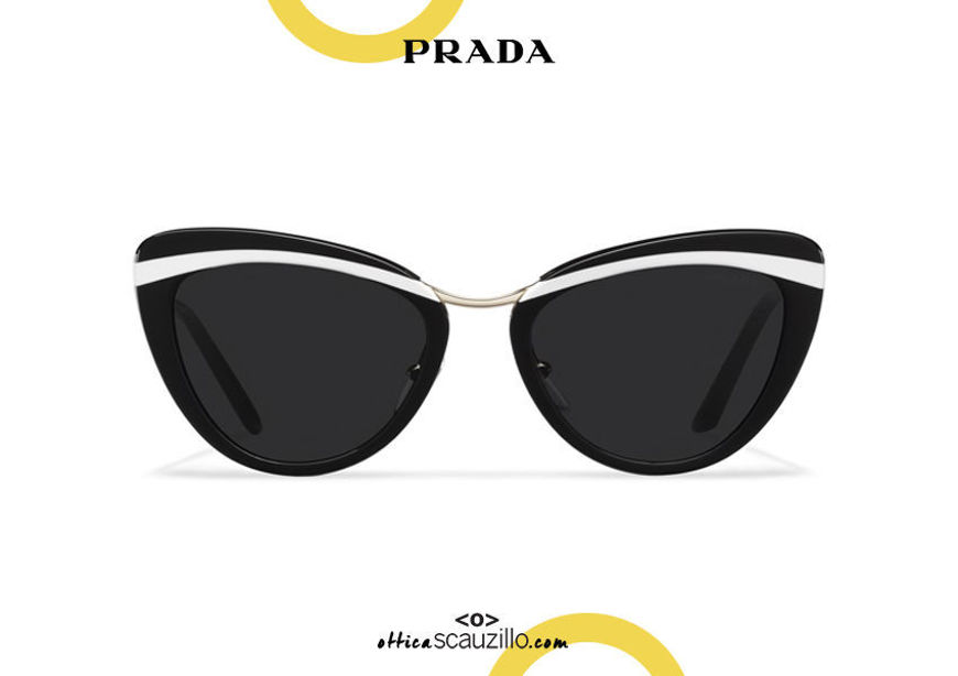 Acquista online su otticascauzillo.com il tuo nuovo occhiale da sole cat eye oversize acetato PRADA SPR 25X col. nero + bianco