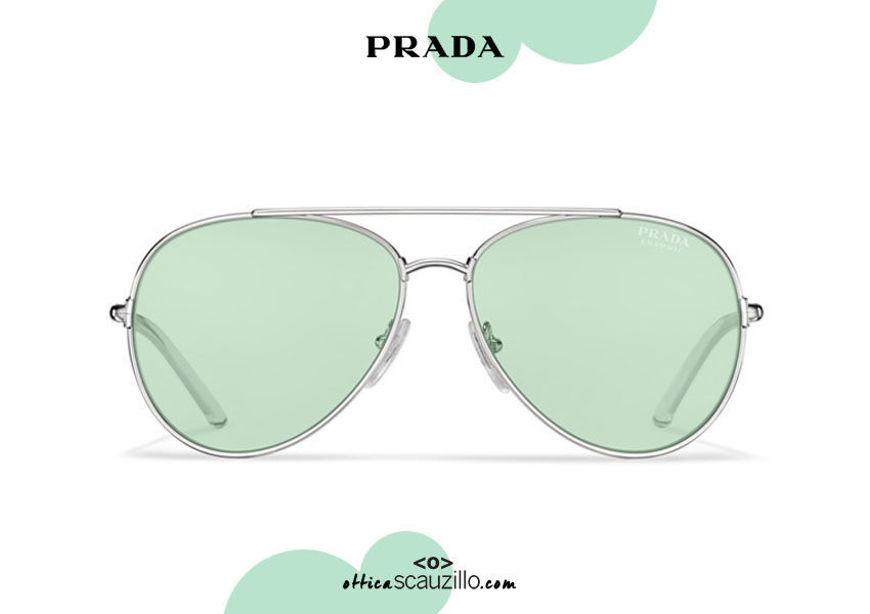 Acquista online su otticascauzillo.com il tuo nuovo occhiale da sole aviator metallo PRADA SPR 66X col. acciaio