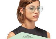 Acquista online su otticascauzillo.com il tuo nuovo occhiale da sole squadrato metallo PRADA SPR 67X col. acciaio