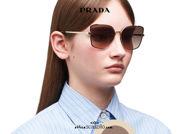 Acquisto online su otticascauzillo.co il tuo nuovo occhiale da sole metallo a farfalla PRADA SPR60X col. cacao e oro pallido