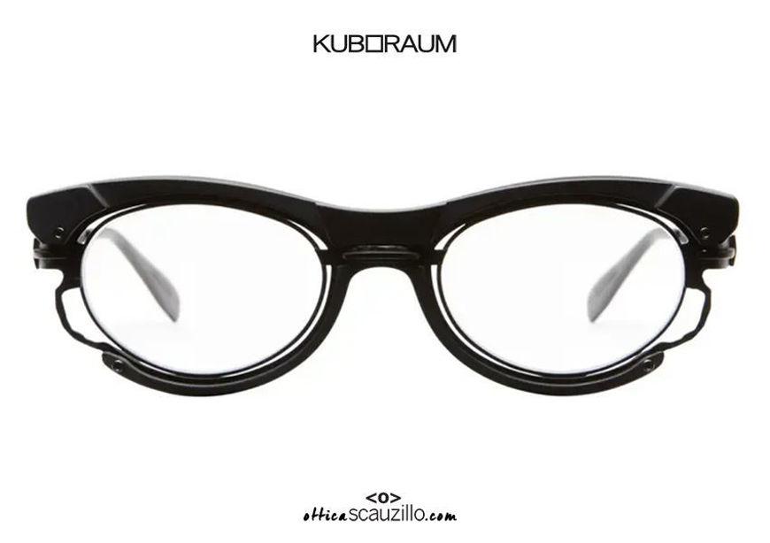 shop online new Narrow cat eye eyeglasses with black metal insert KUBORAUM Mask H90 black satin on otticascauzillo.com acquisto online nuovo  Occhiale da vista cat eye stretto inserto metallo nero KUBORAUM Mask H90 nero satinato