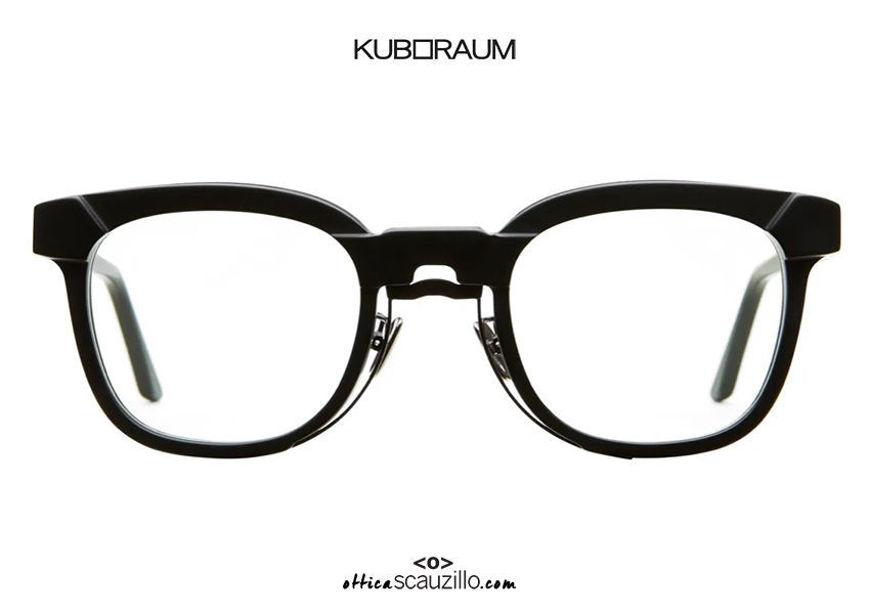 shop online new Black metal bridge eyeglasses KUBORAUM Mask N14 BM black matt on otticascauzillo.com acquisto online nuovo Occhiale da vista ponte metallo nero KUBORAUM Mask N14 BM nero satinato