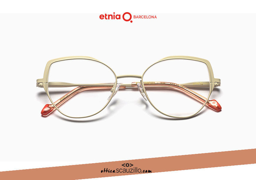 Acquista online su otticascauzillo.com il tuo nuovo occhiale da vista cat eye oversize Etnia Barcelona in metallo ALEKSANDRA col. WH