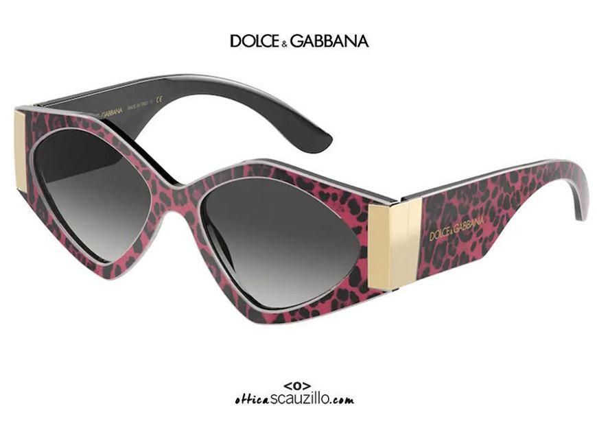 shop online new Oversized geometric sunglasses DG4396 col. 33268G fuchsia leopard on otticascauzillo.com acquisto online nuovo Occhiale da sole geometrico oversize DG4396 col. 33268G leopardo fucsia