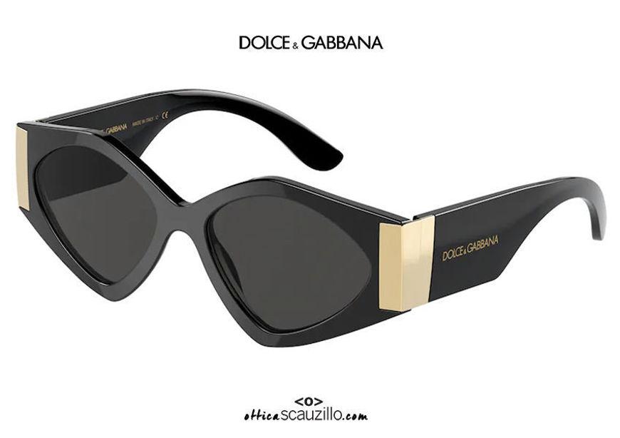 shop online new Oversized geometric sunglasses DG4396 col. 501/87 black and gold on otticascauzillo.com acquisto online nuovo Occhiale da sole geometrico oversize DG4396 col. 501/87 nero e oro