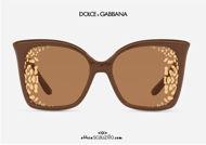 shop online new Oversized pointed sunglasses DG6168 col. 3292P4 camel brown on otticascauzillo.com acquisto online nuovo Occhiale da sole oversize a punta DG6168 col. 3292P4 marrone cammello