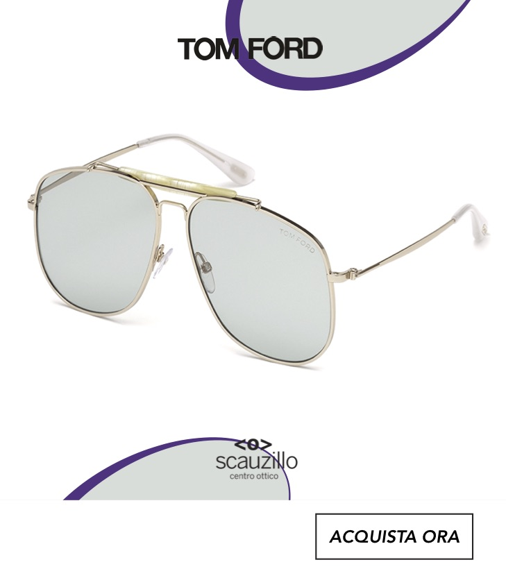 Occhiale da sole aviator oversize TOM FORD CONNOR FT557 col.28V oro e celeste otticascauzillo.com aviator sunglasses